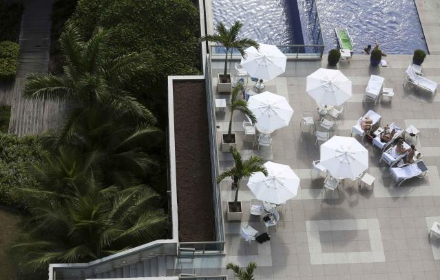 A view of the swimming pool at the Royal Tulip hotel, where the England soccer team will be staying at during the 2014 World Cup, in front of Sao Conrado beach in Rio de Janeiro, February 18, 2014. REUTERS/Pilar Olivares (BRAZIL - Tags: SPORT SOCCER WORLD CUP)