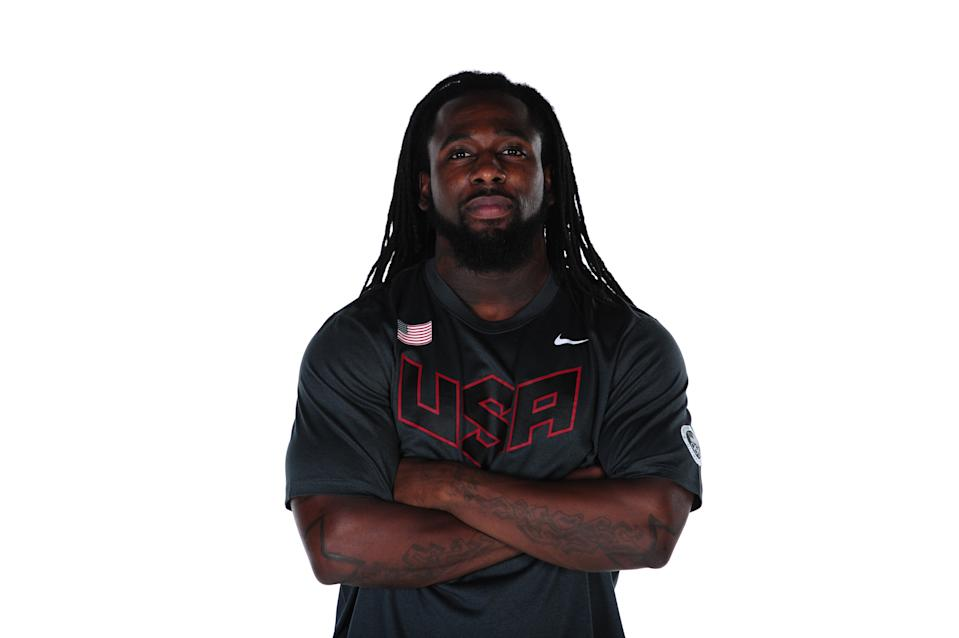 Weightlifter Kendrick Farris' forearm tattoos can be seen as he poses for a portrait during the USOC Portrait Shoot at Smashbox West Hollywood on November 15, 2011 in West Hollywood, California. (Photo by Harry How/Getty Images for USOC)