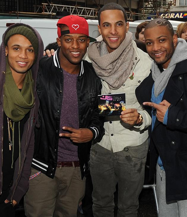 JLS photos: Here's a very unsubtle plug of their music.