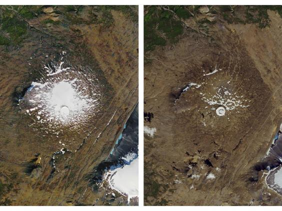 Two NASA photos showing the shrinking of the Okjokull glacier in west-central Iceland. Left: the glacier on 14 September 1986; right: on 1 August 2019 (AP Images)