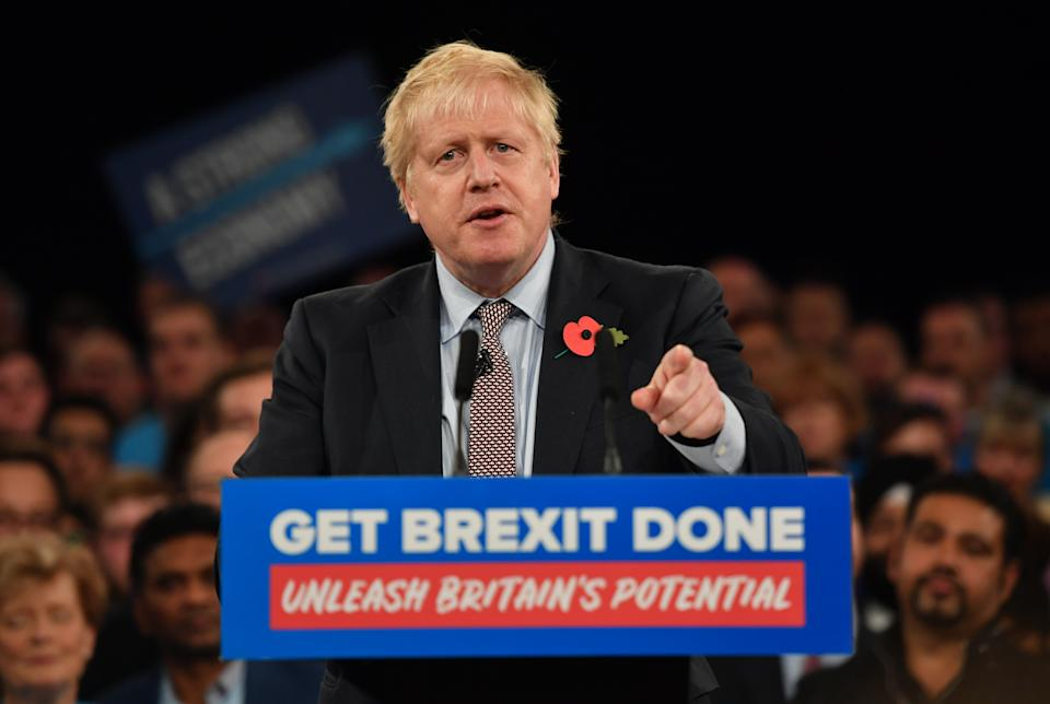 Prime Minister Boris Johnson speaking at the launch the Conservative Party's General Election campaign at NEC, Birmingham.