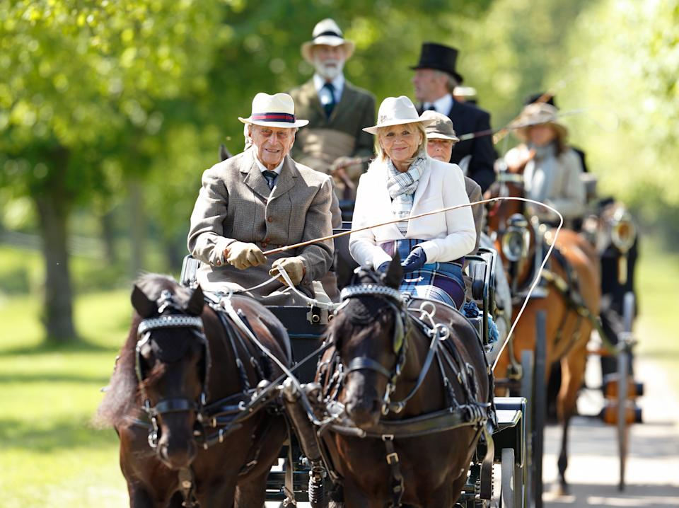 WINDSOR, UNITED KINGDOM - MAY 15: (EMBARGOED FOR PUBLICATION IN UK NEWSPAPERS UNTIL 48 HOURS AFTER CREATE DATE AND TIME) Prince Philip, Duke of Edinburgh carriage driving as he takes part in the Champagne Laurent-Perrier meet of the British Driving Society on day 5 of the Royal Windsor Horse Show in Home Park on May 15, 2016 in Windsor, England. (Photo by Max Mumby/Indigo/Getty Images)