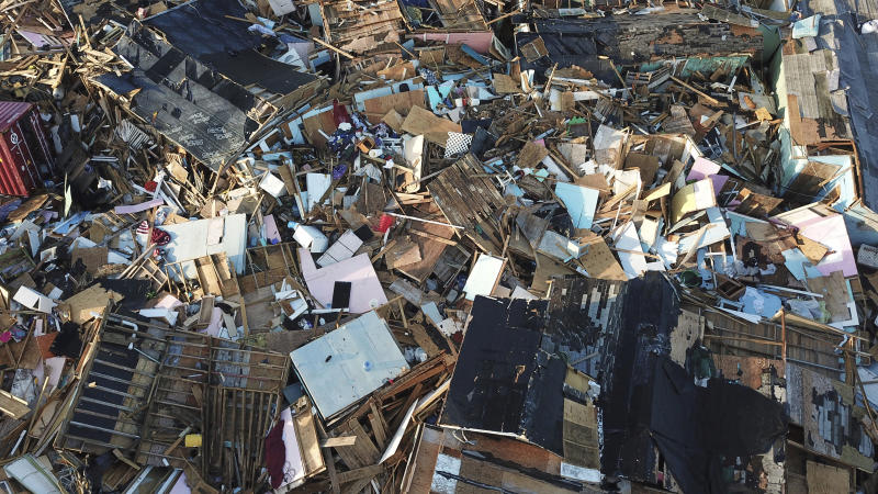 Homes lay in ruins one week after Hurricane Dorian hit The Mudd neighborhood, in the Marsh Harbor area of Abaco, Bahamas, Monday, Sept. 9, 2019. Dorian, the most powerful hurricane in the northwestern Bahamas' recorded history, has killed at least 44 people in Bahamas as of Sunday, Sept. 8, according to the government. (AP Photo/Fernando Llano)