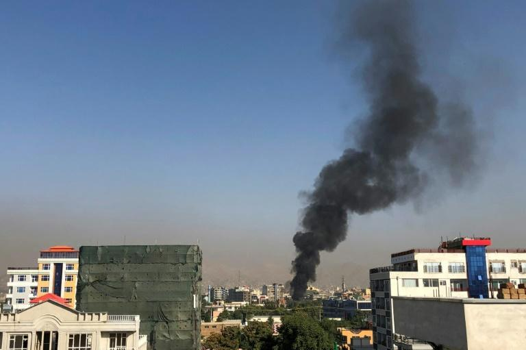 Smoke rises from the scene of the blast that targeted Saleh's convoy in 2020