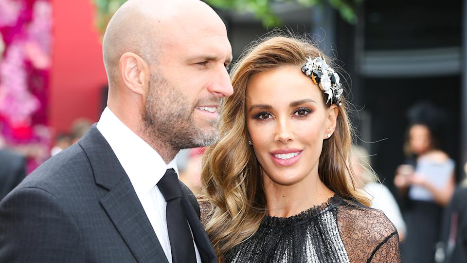 Chris and Rebecca Judd, pictured here at Derby Day in Melbourne in 2018.
