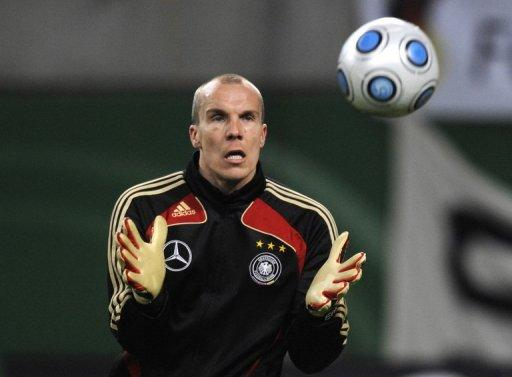 Saturday marks the third anniversary of Germany goalkeeper Robert Enke's (pictured in 2009) suicide after battling depression for years and his widow has launched a hotline for athletes suffering from similar problems