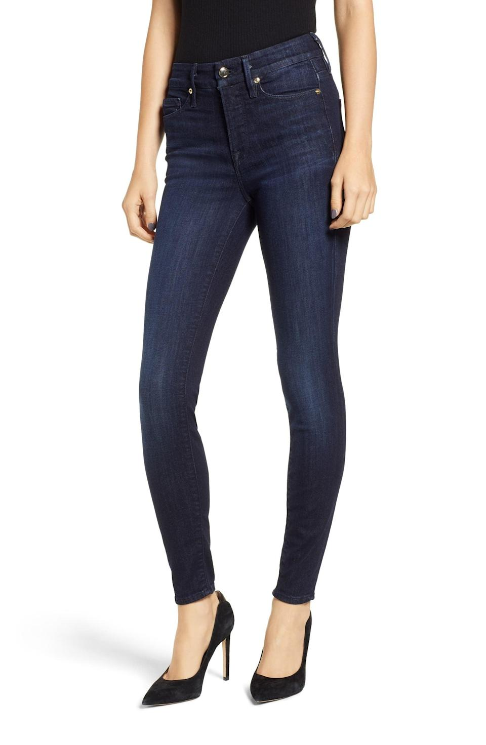 "<p>We gravitate toward <a href=""https://www.popsugar.com/buy/Good-American-denim-551946?p_name=Good%20American%20denim&retailer=shop.nordstrom.com&pid=551946&price=165&evar1=fab%3Aus&evar9=34097656&evar98=https%3A%2F%2Fwww.popsugar.com%2Ffashion%2Fphoto-gallery%2F34097656%2Fimage%2F34097660%2FClassic-Skinny-Jean&list1=shopping%2Cframe%2Cstyle%20how%20to&prop13=mobile&pdata=1"" class=""link rapid-noclick-resp"" rel=""nofollow noopener"" target=""_blank"" data-ylk=""slk:Good American denim"">Good American denim</a> ($165) because they craft a pared-down style and a perfect fit. A pair like this is worth the investment. They'll last, flatter your figure, and work with heels or flats - and you don't have to be embarrassed about embellishments, rips, or holes. Think of these as ""grown-up jeans.""</p>"