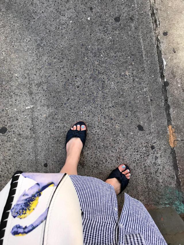 Target's A New Day Stacia knotted satin slide sandals in Navy. (Photo: Julie Tong)