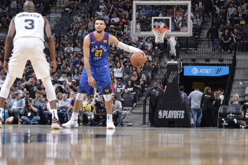 SAN ANTONIO, TX - APRIL 20: Jamal Murray #27 of the Denver Nuggets handles the ball against the San Antonio Spurs during Game Four of Round One of the 2019 NBA Playoffs on April 20, 2019 at the AT&T Center in San Antonio, Texas