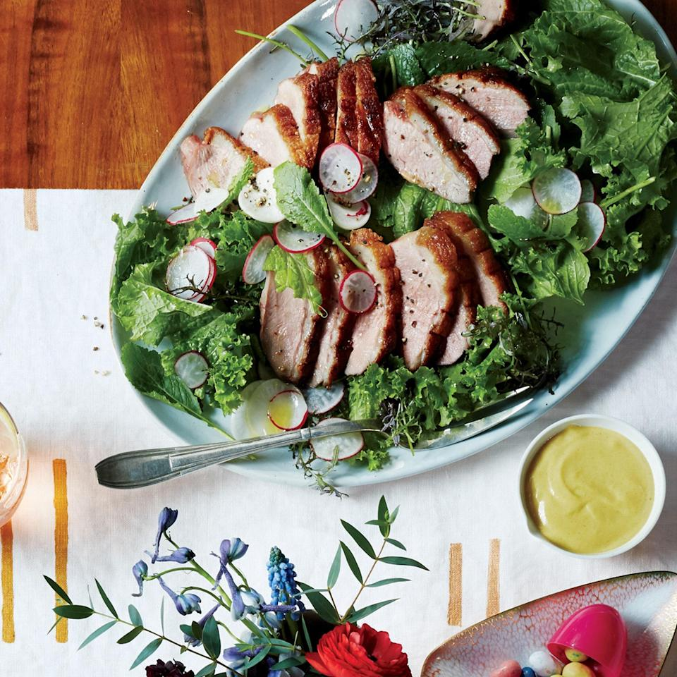 """Thinly sliced radishes and turnips add crunch to this meal-on-a-platter, offsetting the richness of the duck. <a href=""""https://www.epicurious.com/recipes/food/views/duck-breast-with-mustard-greens-turnips-and-radishes-56389379?mbid=synd_yahoo_rss"""" rel=""""nofollow noopener"""" target=""""_blank"""" data-ylk=""""slk:See recipe."""" class=""""link rapid-noclick-resp"""">See recipe.</a>"""