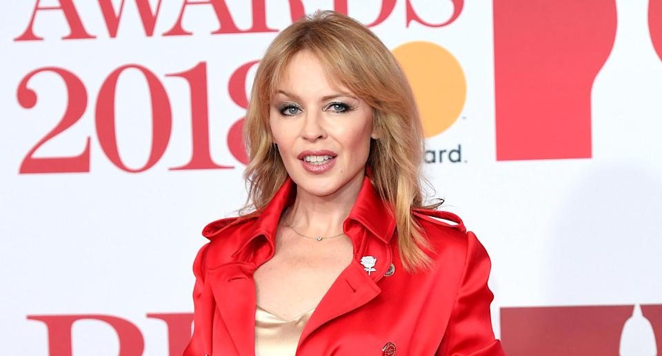 Kylie Minogue attends the BRIT Awards 2018 on Feb. 21 in London. (Photo by Karwai Tang/WireImage)