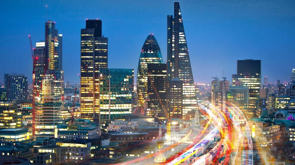 City of London view at sunset