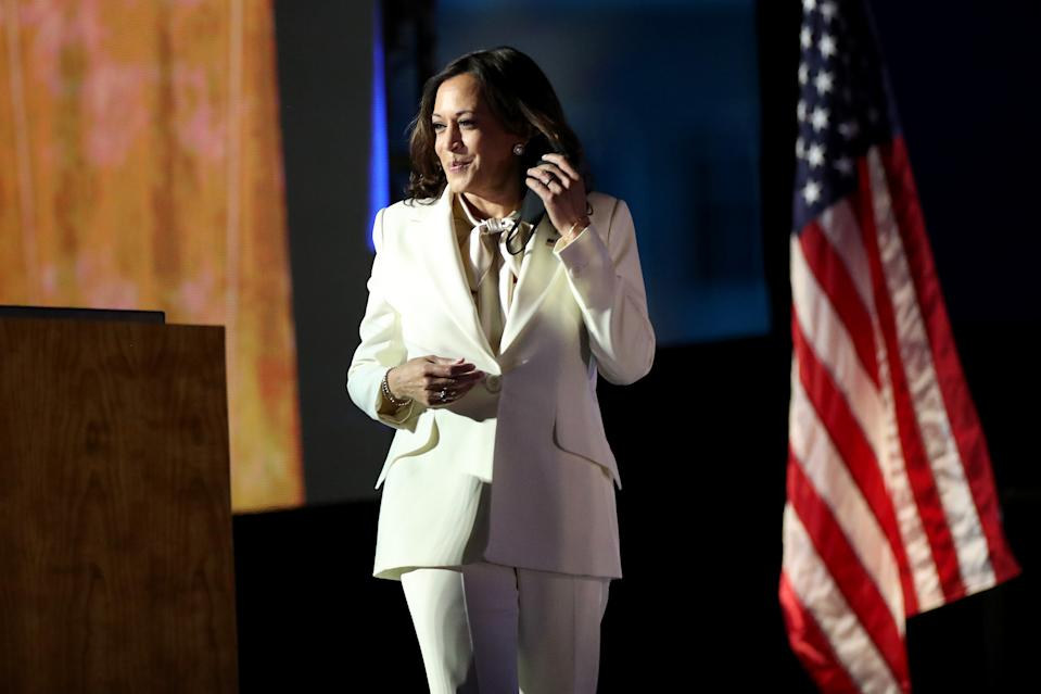 WILMINGTON, DELAWARE - NOVEMBER 07:  Vice President-elect Kamala Harris speaks on stage at the Chase Center before President-elect Joe Biden's address to the nation November 07, 2020 in Wilmington, Delaware. After four days of counting the high volume of mail-in ballots in key battleground states due to the coronavirus pandemic, the race was called for Biden after a contentious election battle against incumbent Republican President Donald Trump. (Photo by Drew Angerer/Getty Images)