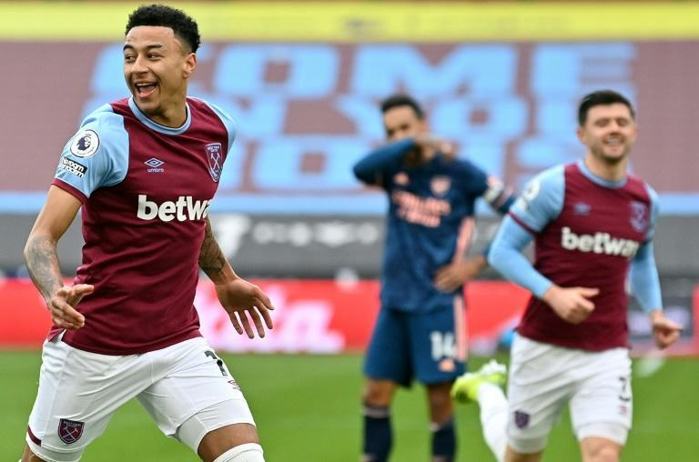 Jesse's joy: Jesse Lingard (left)scored his fifth goal in seven games for West Ham