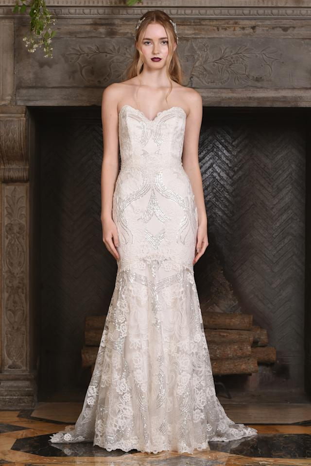 <p>A model wears a gown from the Claire Pettibonefall-winter 2017 bridal collection.</p><p><i>(Photo: Courtesy of Claire Pettibone)</i></p>