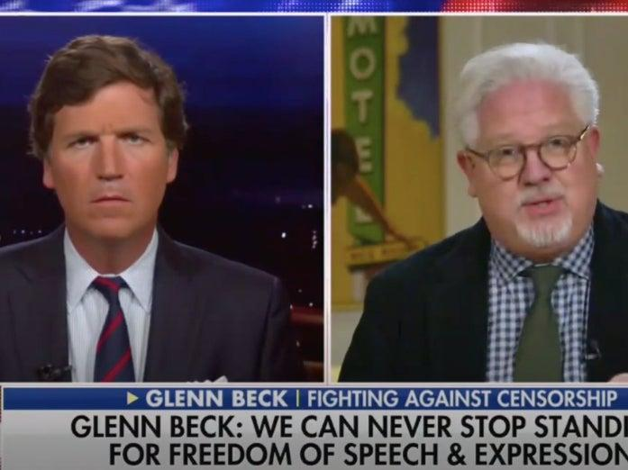 <p>Glenn Beck (L) appearing on a show hosted by Tucker Carlson compared Twitter's move to take down far-right accounts to holocaust</p> (Screengrab/Video)