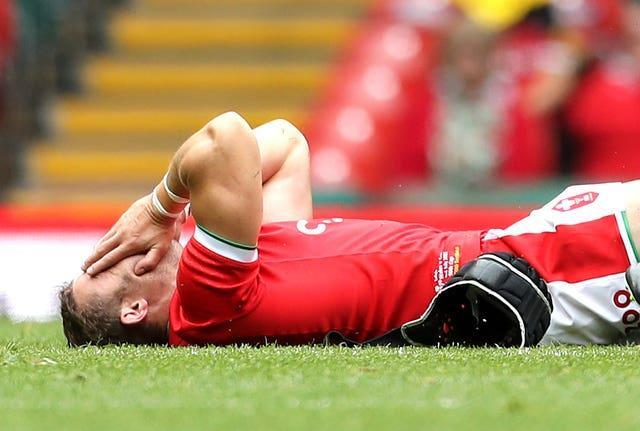 Leigh Halfpenny lies in pain against Canada
