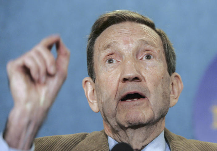 FILE - This Thursday Feb. 23, 2006 file photo shows former U.S. Attorney General Ramsey Clark as he speaks during a press conference at the National Press Club in Washington. Ramsey Clark, the attorney general in the Johnson administration who became an outspoken activist for unpopular causes and a harsh critic of U.S. policy, has died, Friday, April 9, 2021. He was 93. (AP Photo/Manuel Balce Ceneta, File)
