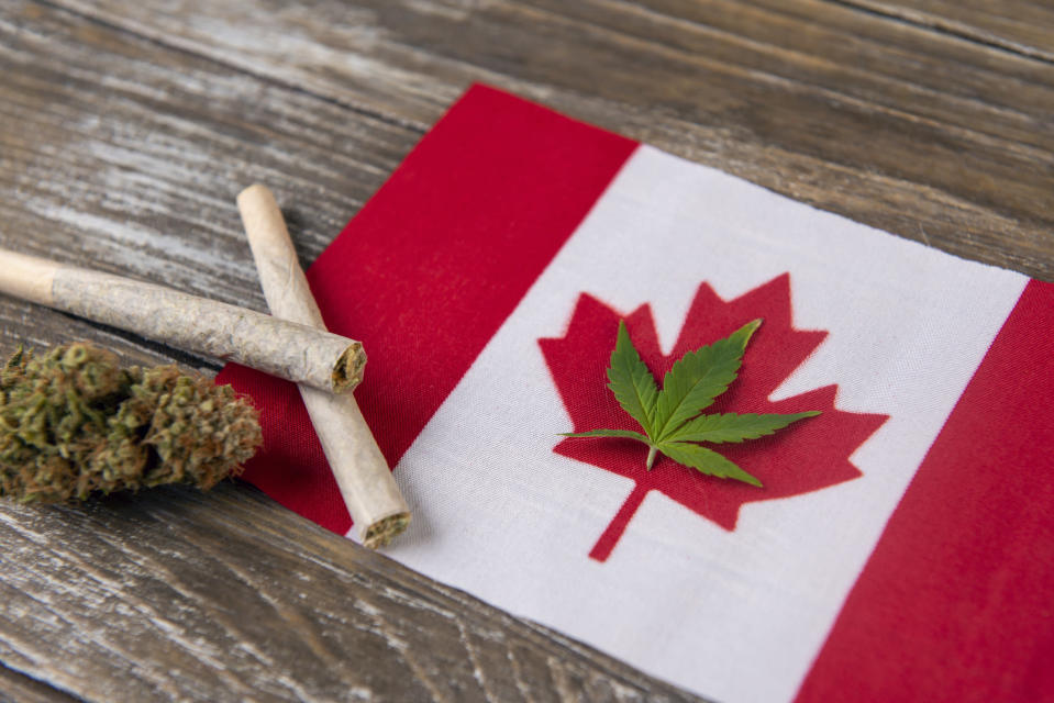 A cannabis leaf place within the outline of Canada's red maple on its flag, with rolled joints and a cannabis bud adjacent to the flag.