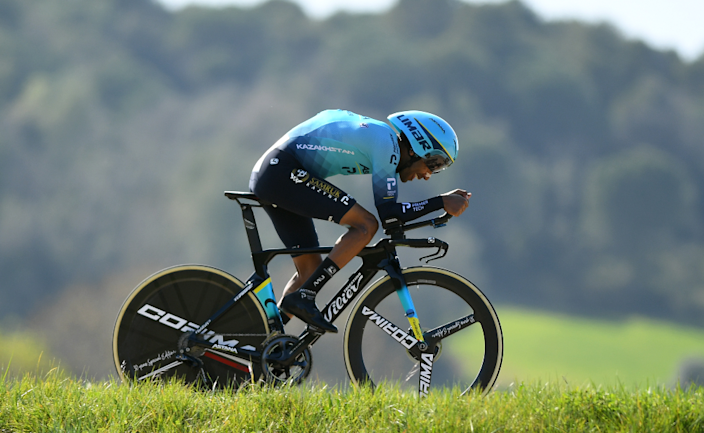 Eritrean cyclist Merhawi Kudus Ghebremedhin participating in a time trial stage of the Volta a Catalunya race in Spain - Tuesday 23 March 2021