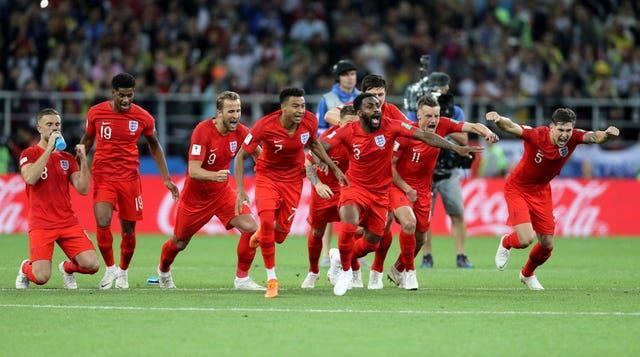 England celebrate penalty shootout success against Colombia in 2018