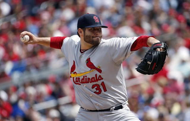 St. Louis Cardinals starting pitcher Lance Lynn throws during the third inning of a baseball game against the Washington Nationals at Nationals Park on Saturday, April 19, 2014, in Washington. (AP Photo/Alex Brandon)