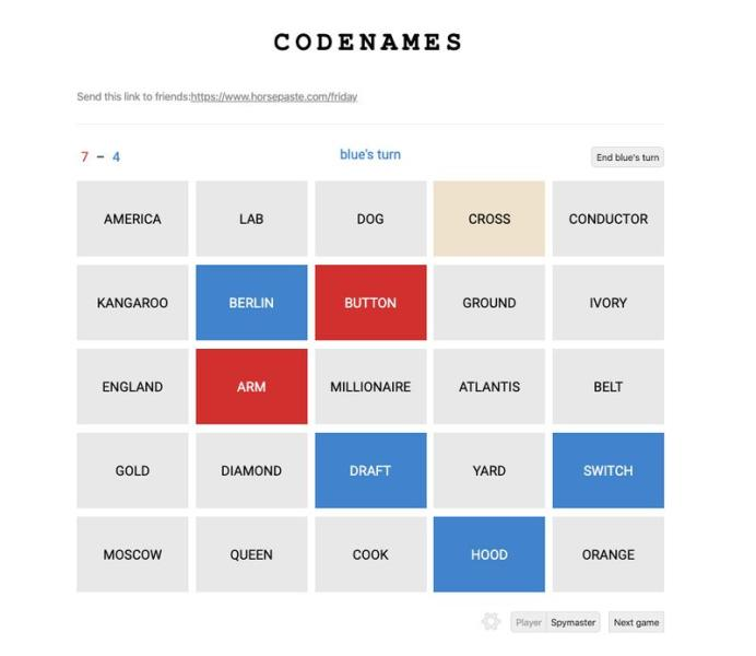 A screen grab provided by software engineer Jackson Owens shows a game of Codenames in action on his website Horsepaste.com, which saw an increase in users last month.
