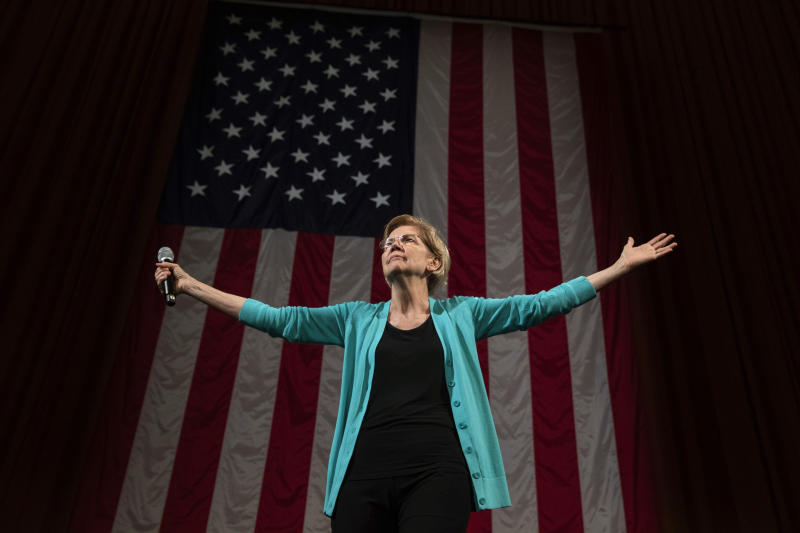 In this June 28, 2019 photo, Democratic presidential candidate Sen. Elizabeth Warren, D-Mass., arrives at Chicago's Auditorium Theater at Roosevelt University for a Chicago Town Hall event. | Amr Alfiky—AP