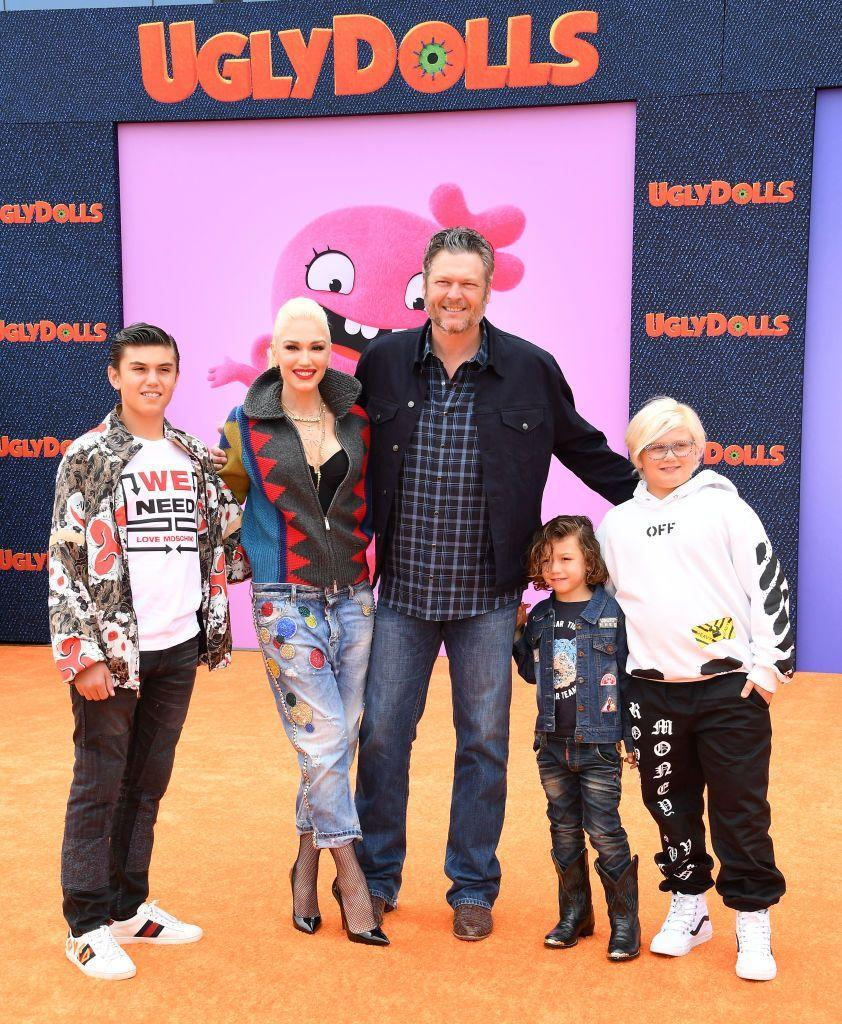 <p>Things get way too cute at the <em>Ugly Dolls</em> premiere when Blake and Gwen make their first red carpet appearance with Gwen's three sons, Kingston, Zuma, and Apollo. </p>