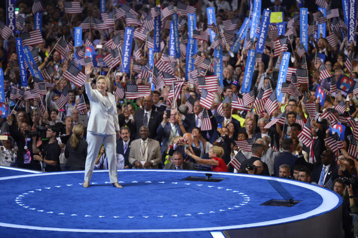 Hillary Clinton waves to supporters