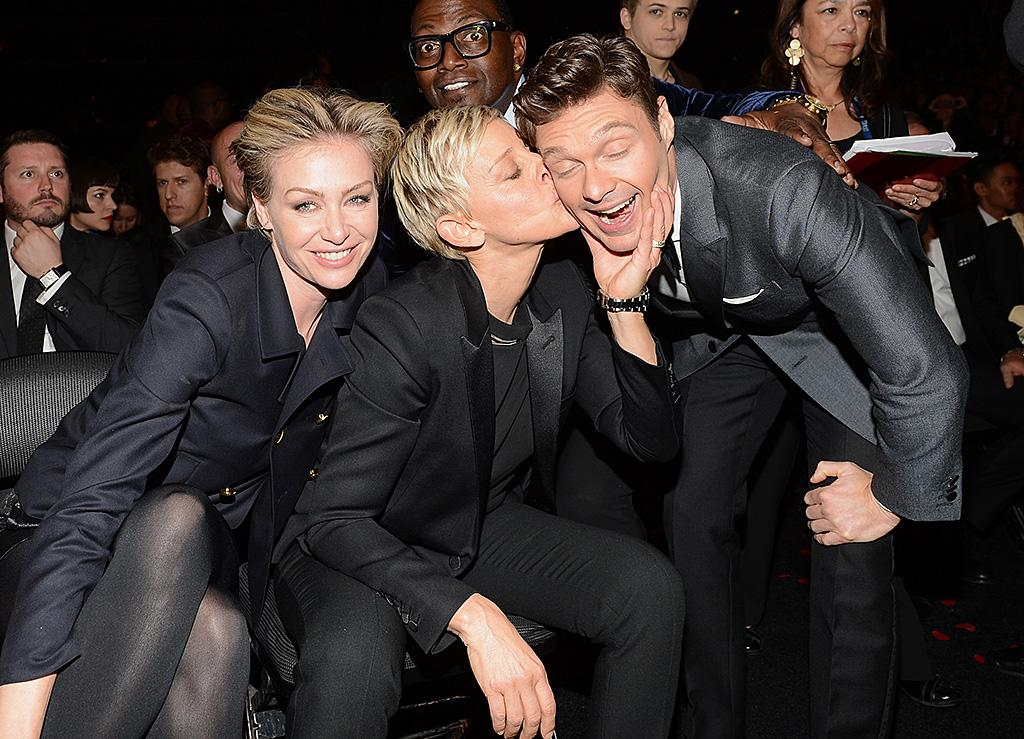 LOS ANGELES, CA - FEBRUARY 10:   Actress Portia de Rossi and TV Personalities Ellen DeGeneres and Ryan Seacrest attends the 55th Annual GRAMMY Awards at STAPLES Center on February 10, 2013 in Los Angeles, California.  (Photo by Larry Busacca/WireImage)