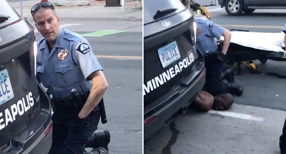 Minneapolis police officer Derek Chauvlin is seen kneeling on the neck of George Floyd, 46.