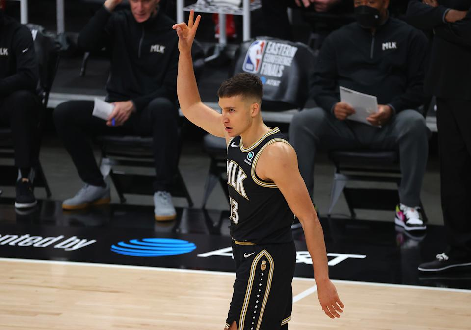 The Hawks evened the Eastern Conference finals at two games apiece behind 20 points from Bogdan Bogdanovic. (Kevin C. Cox/Getty Images)