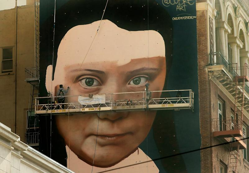 The eight-storey mural of Greta Thunberg has been painted on a building in downtown San Francisco: AP
