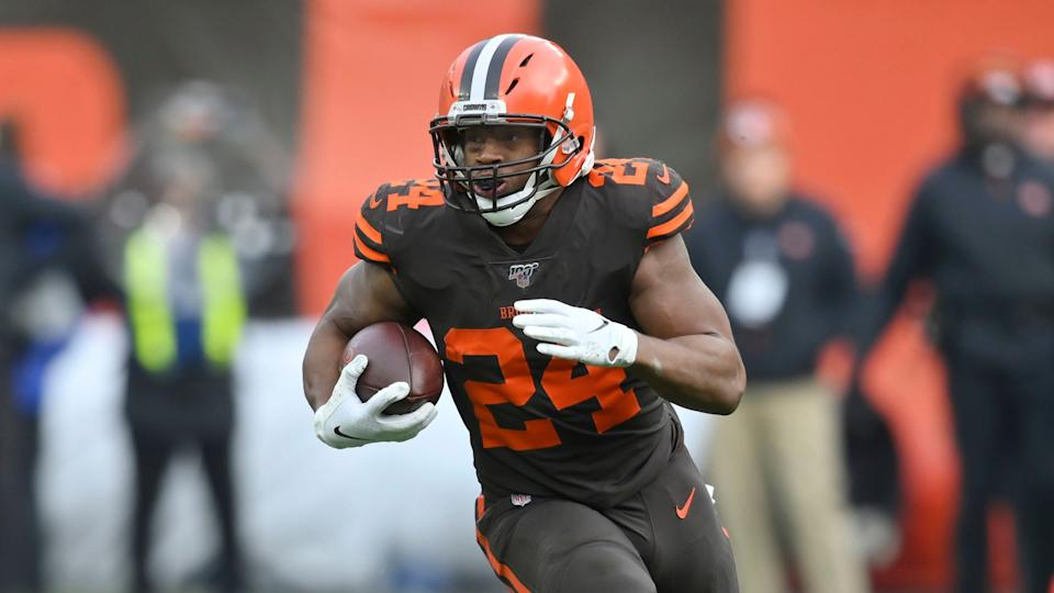 Mandatory Credit: Photo by David Richard/AP/Shutterstock (10501810b)Cleveland Browns running back Nick Chubb runs with the ball during an NFL football game against the Cincinnati Bengals, in Cleveland.