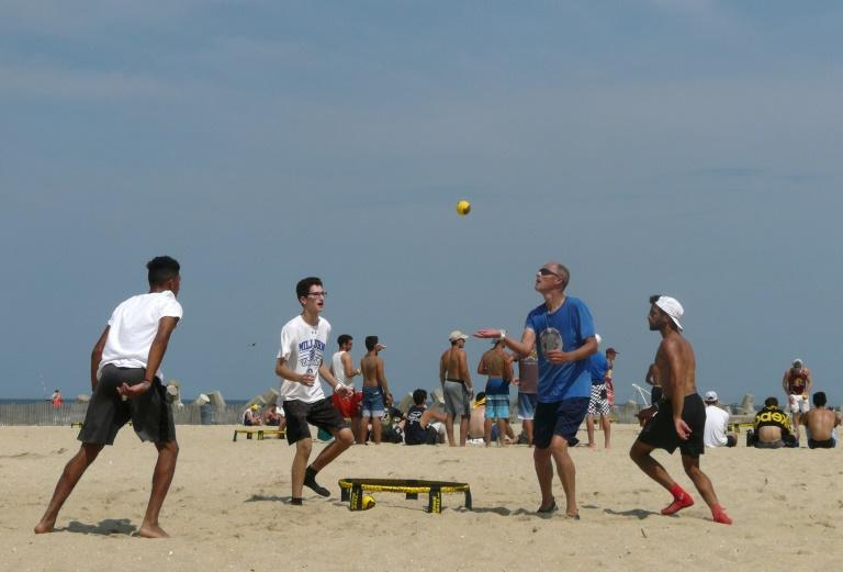There are no boundaries, and a point is won when the opposing team fails to hit the ball back to the net