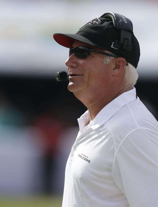 Atlanta Falcons head coach Mike Smith on the sidelines during the first half of an NFL football game against the Miami Dolphins, Sunday, Sept. 22, 2013, in Miami Gardens, Fla. (AP Photo/Lynne Sladky)