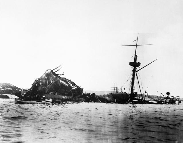 "The remains of the USS Maine in Havana harbor in 1898. The cause of the blast that sank the vessel was never determined, but the incident inflamed tensions between Spain and the United States, and led to the start of the Spanish-American War. ""Remember the Maine!"" became an American rallying cry. (Photo: Corbis via Getty Images)"
