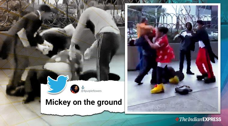 minnie mouse, minnie mouse beats up security guard, disney, disney land, mickey mouse, viral video