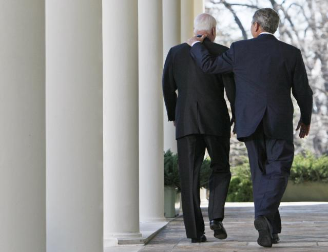 <p>President Bush and Republican nominee-in-waiting Sen. John McCain, R-Ariz., walk down the West Wing Colonnade of the White House in Washington, March 5, 2008, after speaking to reporters in the Rose Garden, where the president announced his endorsement of McCain. (Photo: Charles Dharapak/AP) </p>