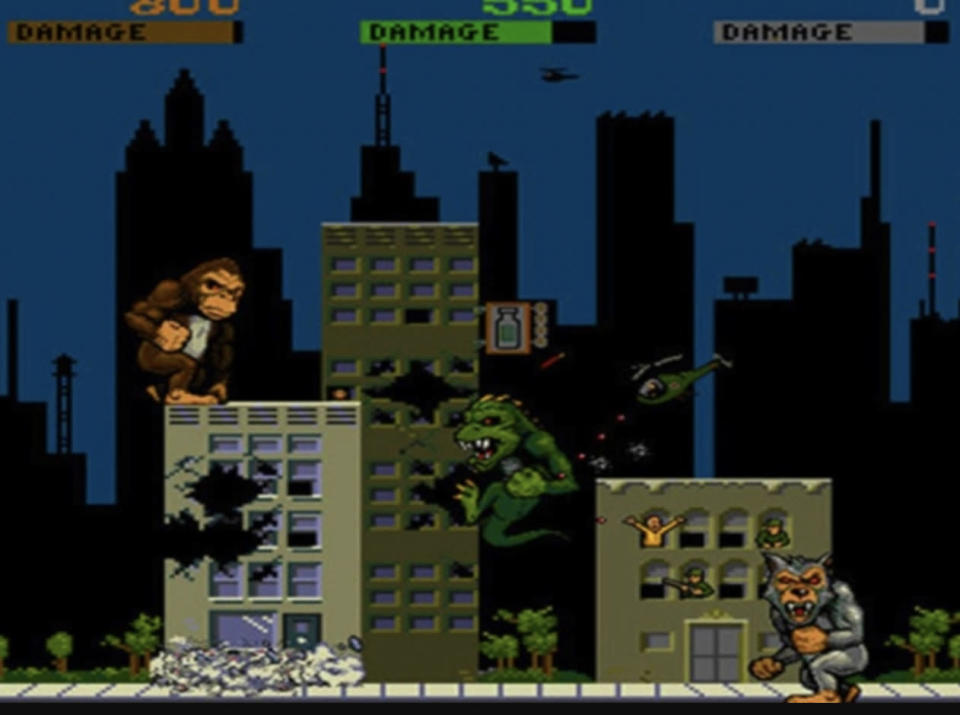 George, Lizzie, and Ralph as seen in the classic 1986 game <i>Rampage.</i> (Image: Midway Games)