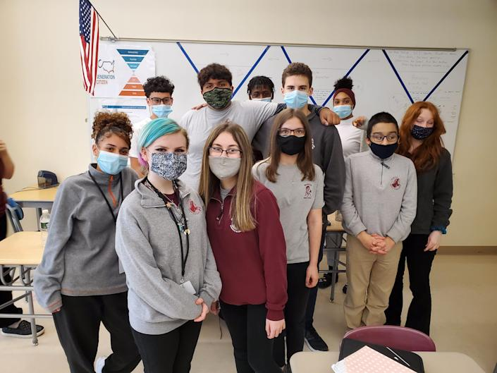 Students in the eighth grade Action Civics class at Morton Middle School in Fall River, Mass., that is petitioning for a citywide ban on single-use plastic bags.