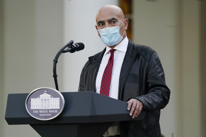 Dr. Moncef Slaoui, chief adviser to Operation Warp Speed, speaks in the Rose Garden of the White House, Friday, Nov. 13, 2020, in Washington. (AP Photo/Evan Vucci)
