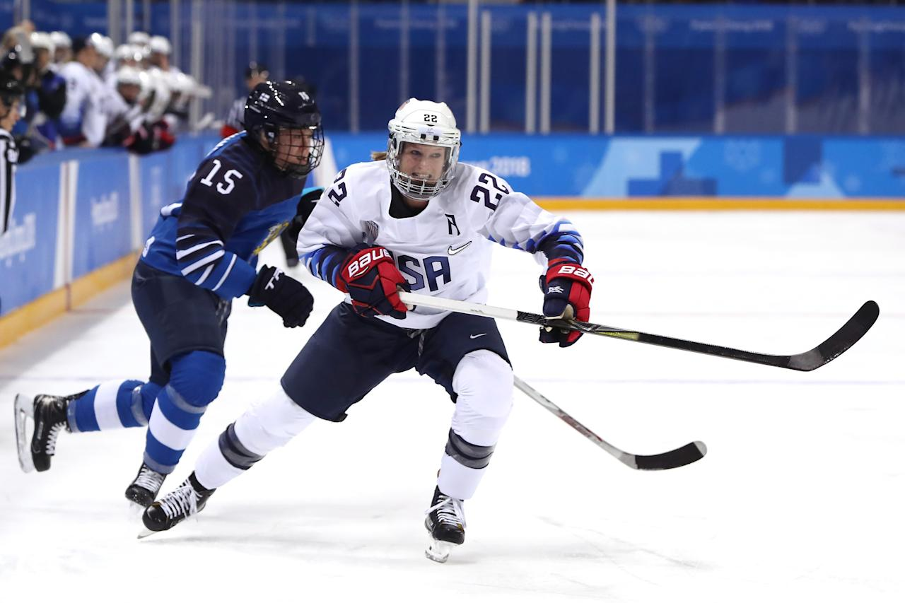 <p>Kacey Bellamy #22 of the United States collides with Minnamari Tuominen #15 of Finland during the Women's Ice Hockey Preliminary Round – Group A game on day two of the PyeongChang 2018 Winter Olympic Games at Kwandong Hockey Centre on February 11, 2018 in Gangneung, South Korea. (Photo by Ronald Martinez/Getty Images) </p>