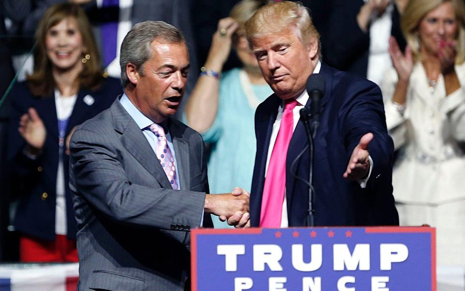 Donald Trump introduces Nigel Farage at a campaign rally in Mississippi in August 2016