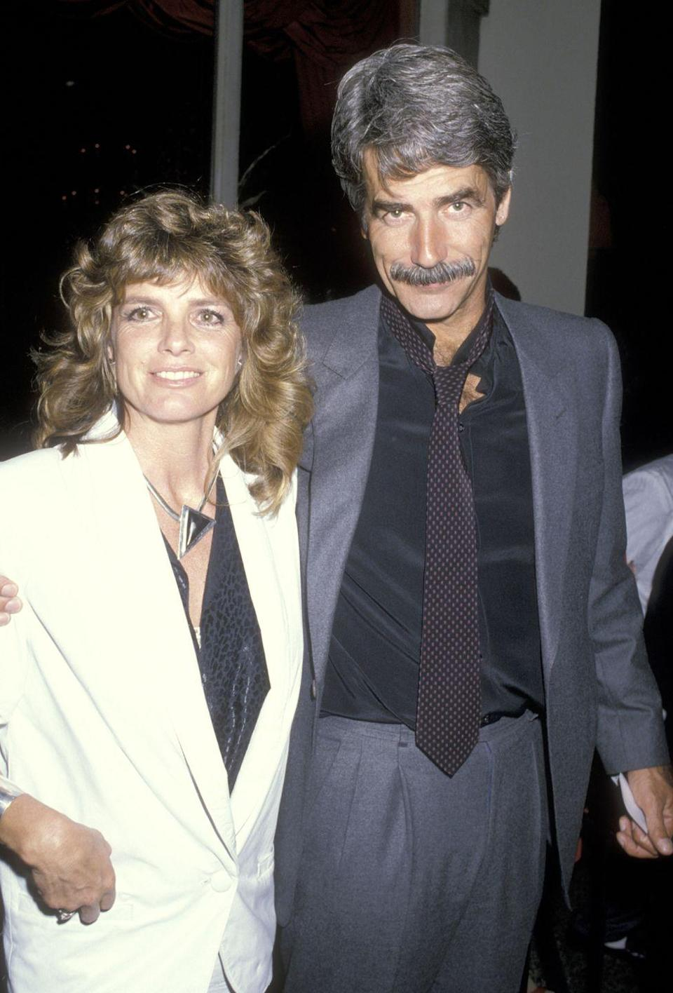 <p>Elliott and wife Katharine Ross attend the wrap-up party for the first season of <em>The Colbys</em> on April 13, 1986, at Beverly Wilshire Hotel in Beverly Hills, California.</p>