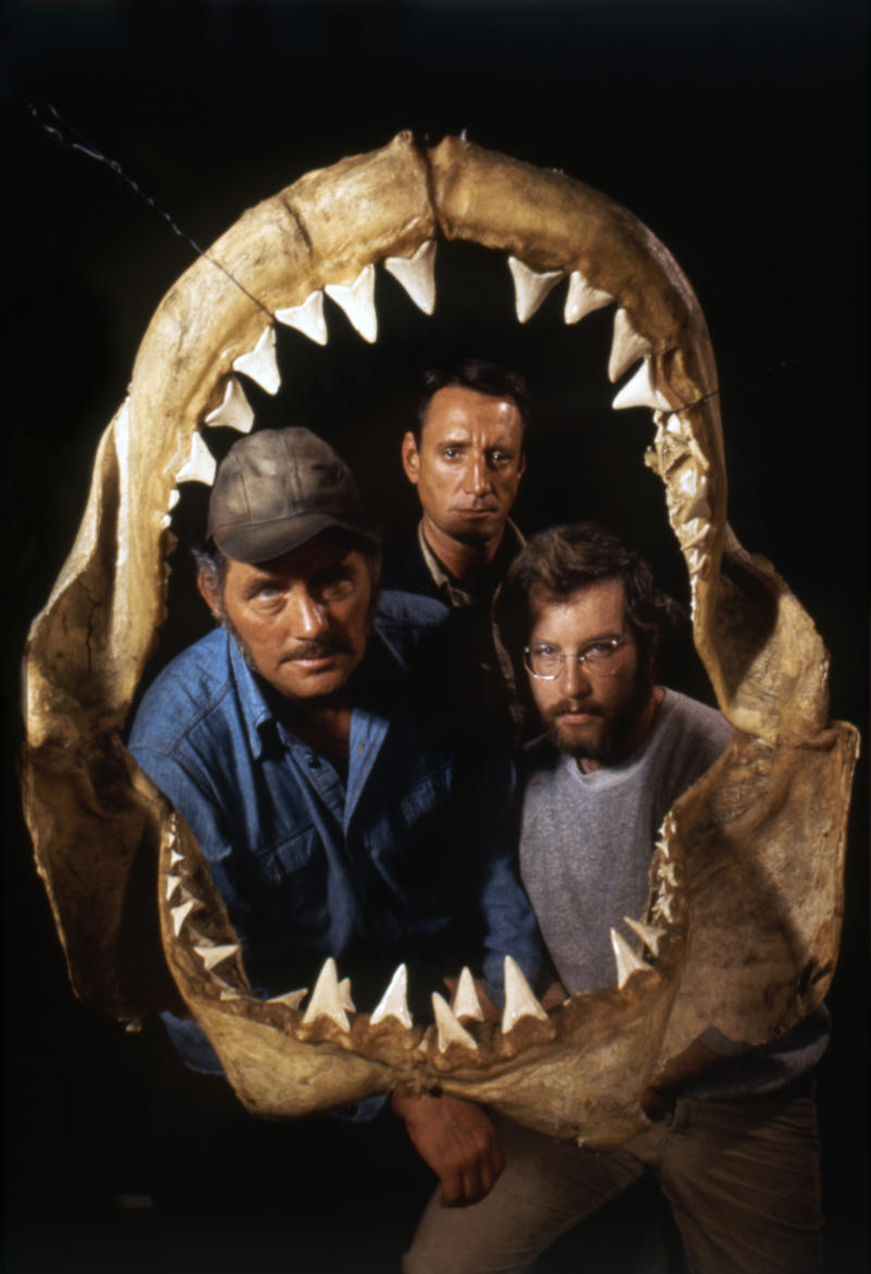 American actors Robert Shaw, Roy Scheider, and Richard Dreyfuss promoting the movie Jaws, directed by Steven Spielberg. (Photo by Sunset Boulevard/Corbis via Getty Images)
