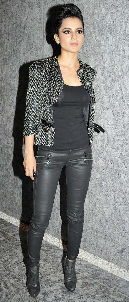 Man! Can Kangana Ranaut dress to impress. She leaves the fashion police and fans asking for more every time she makes a red carpet appearance. Check out her biker chick avatar here.