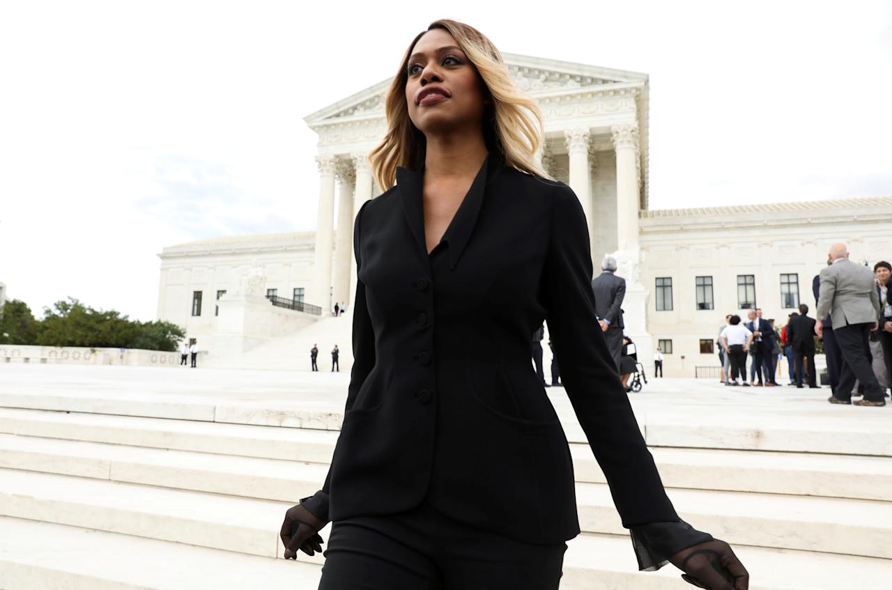 """Actress and transgender rights advocate Laverne Cox exits the U.S. Supreme Court after the court held oral arguments in the transgender rights case """"R.G. & G.R. Harris Funeral Homes Inc. v. Equal Employment Opportunity Commission"""" in Washington, U.S., October 8, 2019. REUTERS/Jonathan Ernst     TPX IMAGES OF THE DAY"""