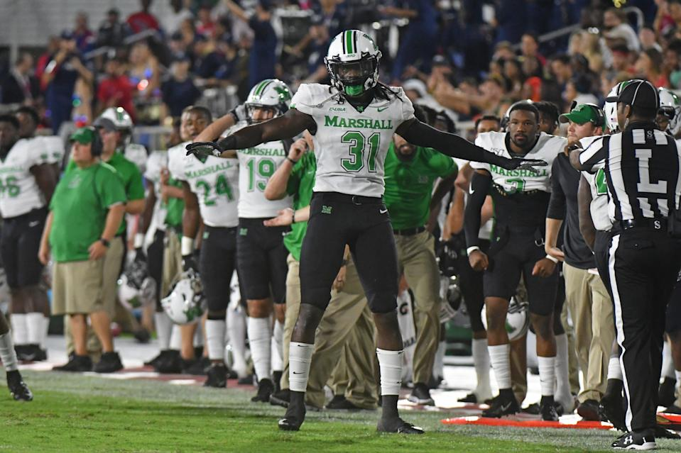 BOCA RATON, FL - OCTOBER 18: Omari Cobb #31 of the Marshall Thundering Herd celebrates after breaking up a pass in the first half of the game against the Florida Atlantic Owls at FAU Stadium on October 18, 2019 in Boca Raton, Florida. (Photo by Eric Espada/Getty Images)